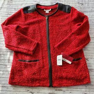 Cathy Daniels Jacket Large Blazer Sweater Red